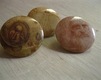 Leonardo da Vinci Famous Artwork Pinback Buttons (set of 3)