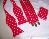 MENS SUSPENDERS SET - Suspenders, Pocket Square & Bow Tie  - Bright Red with White Polka Dots