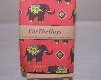 Elephant - Road Well Traveled - Men's Pocket Square 9 X 9 - Coral or Chartreuse - you choose