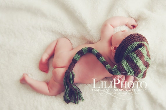 Classic~Long tail infant hat ~Infant photography~Newborn photo prop~Newborn hat~Longtail Newborn hat