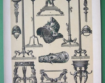 ITALY Pompeian Metal Work Bronze Objects Lamps Helmets - 1888 Color Litho Antique Print