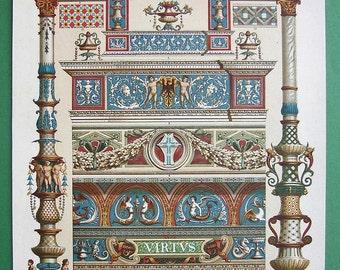 ITALY Renaissance Ornamental Paintings Pienza Milan Genoa - 1888 Color Litho Antique Print