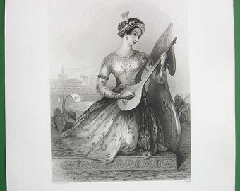 BEAUTY OF INDIA Hindoo Princess Fashionable Dress Playing Lute - 1838 SUperb Quality ntique Print