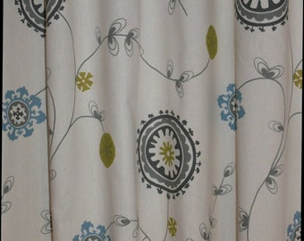 "CUSTOM CURTAINS - A pair of Custom Curtains Emma Summerland/Natural 50"" wide X up to 108"" Long"