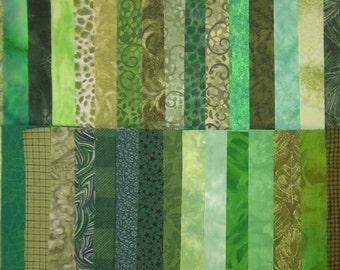 """DESTASH Quilt Fabric Cotton 5"""" Squares Green Charm Pack"""