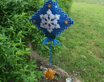Snowflake 3D Ornament/Door Hanger-Hand Stitched Felt