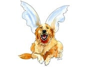 Golden Retriever Illustration Pen and Ink Watercolor Happy Humorous Dog Gift Idea Portrait Angel Wings Gold Blue Rust