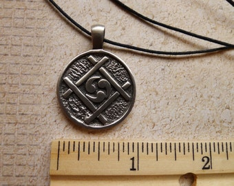 Ying Yang Fine Pewter  Silver Antiqued Pendant