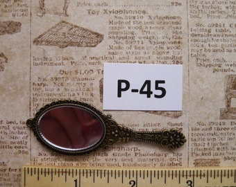 1 Small Hand Mirror Bronze layered charm P-45