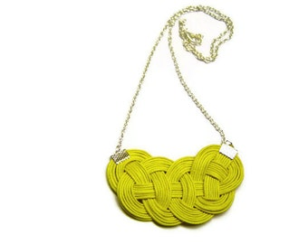 Yellow Knot Necklace,Cord Rope Necklace, Statement Necklace, Bib Necklace, Nautical, Celtic Knot, Sailor Knot, Love Knot, Chain