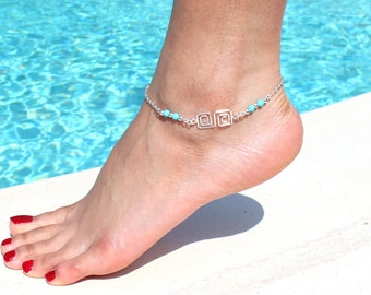 Path Of Life Anklet with Turquoise