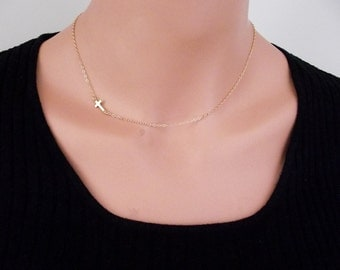 Small Gold plated Sideways Cross Necklace, Petite Cross, Religious Jewelry, Celebrity Inspired