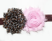 Pink Brown Cheetah Leopard Flower Rosette Vintage Headband Skinny Elastic Baby Hair Bow Infant, Girl Headband