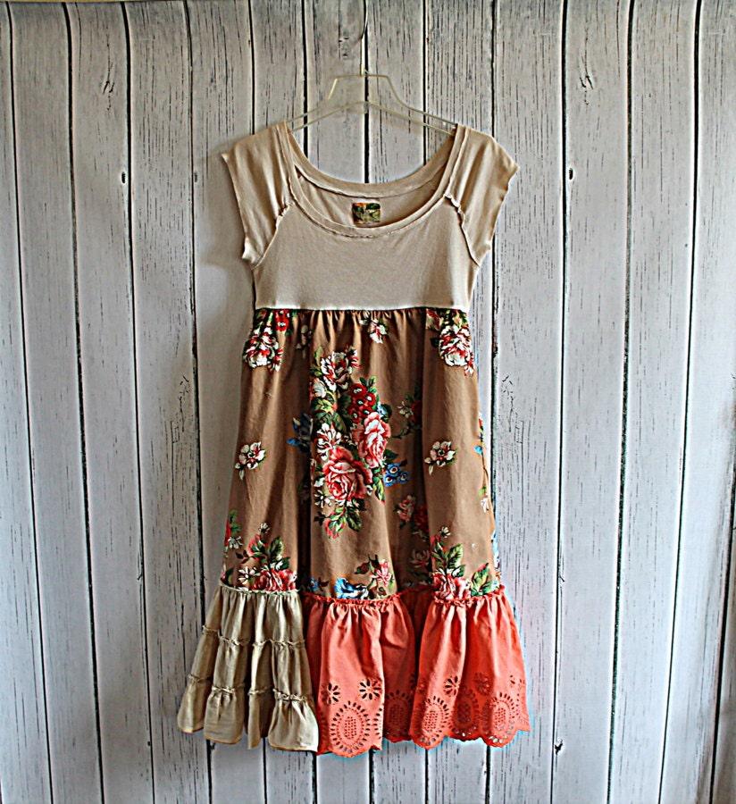 Boho Women's Upcycled Dress / Praire Chic / Ladies