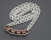 Chainmail Necklace, Antiqued Copper