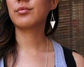LAST ONE SALE Silver Triangles upcycled silver leather and silver metal chain triangle earrings