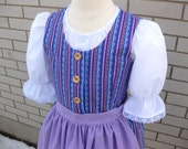 Striped Spring Dirndl German Bavarian Style Dress Size 8 Girl's Blouse Apron Jumper Outfit Children's Clothing