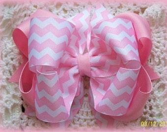 Pink Chevron Hair Bow...Chevron Hair Bow....Spring Hair Bow...Pink Hair Bow...Girls Hair Bow...Toddler Hair Bow