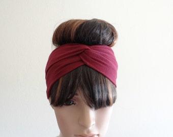 Burgundy Headband.Burgundy Head Wrap