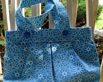 Baby Blue Shoulder Bag with Vintage Buttons