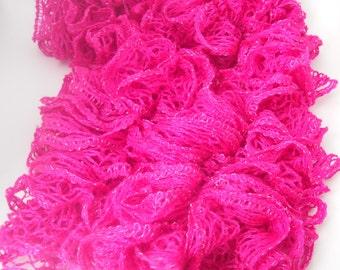 Hot Pink Sashay Ruffle Scarf