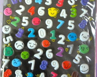 Japanese/ Korean Puffy Stickers- Numbers and Expressions