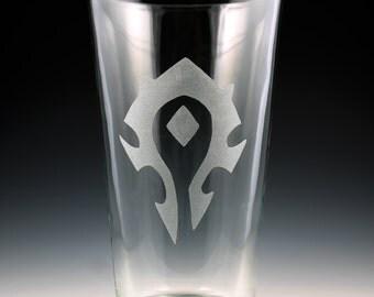 World of Warcraft Horde Symbol Pint Glass