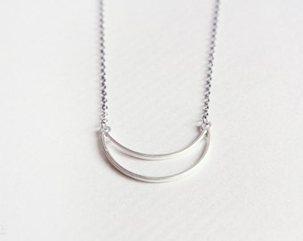crescent - minimalist half moon silver necklace - dainty modern jewelry / gift for her