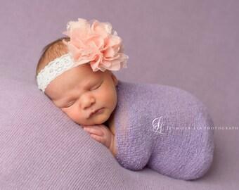 Baby headband, Peach and Ivory Lace Headband, Newborn Headband, Baby Girl Photo Prop, Infant Headband, shabby chic headband