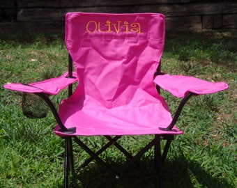 pink monogrammed chair for kids