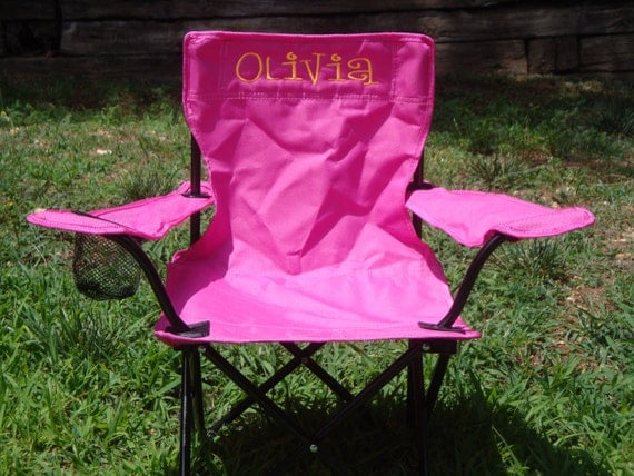 Items similar to pink monogrammed chair for kids on etsy for Monogrammed kids chair
