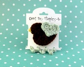 Crochet Bird Hair Clip in Chocolate Brown and Light Blue