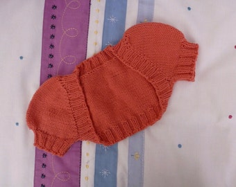 Cotton toddler's shrug with puffed sleeves, size 3, in watermelon orange