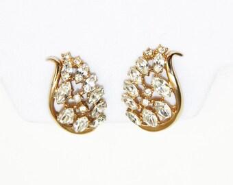 Bellini Rhinestone Earrings - Signed Gold Tone Clip Earrings - Vintage Designer Earrings