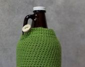 Hoppy 64 oz Beer Growler Cozy in Hop Leaf Green Wool