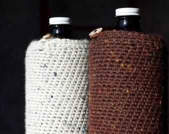 Winter 32 oz Beer Mini Growler Cozy in Birch Bark White or Beer Brown Tweed Wool