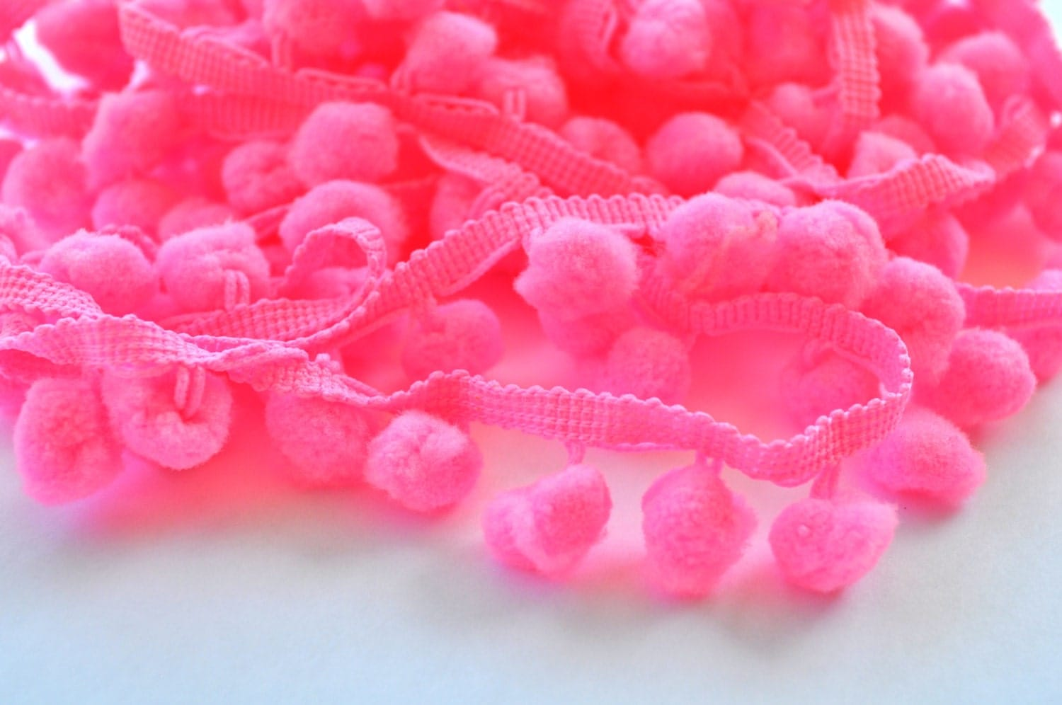 HOT PINK 5 yards pom pom fringe 1 inch trim by emmyandsoph
