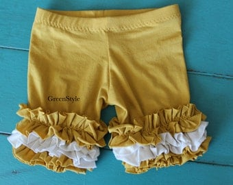 Ruffled shorties in Mustard Yellow and cream  from GreenStyle