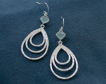 Silver Teardrop Earrings - Seafoam Aqua Blue Triple Drop Earrings on Sterling Silver Earwires - Silver Dangle Earrings