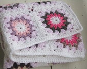 Granny square baby blanket - afghan kaleidoscope, colorful, hand crocheted, OOAK