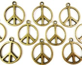 Bronze Peace Charms 20x16mm Antique Brass Tone Metal (Bronze) Peace Sign Charm Pendant Lead Free Nickel Free Jewelry Findings 10pcs