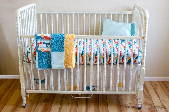 Organic Crib Bedding Whales, Organic Toddler Bedding Nautical, Nautical Baby Bedding Organic, Whales, Nautical, Whale of a Time
