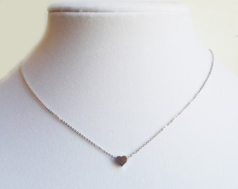 Silver Heart Stacking Necklace - BridesMaid Gift - Heart Necklace
