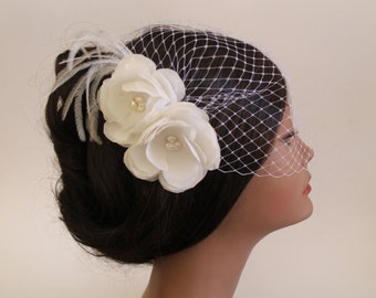 Birdcage Bandeau Veil, Ivory Flower Birdcage Veil and Fascinator, Wedding Head Piece, Wedding Accessories