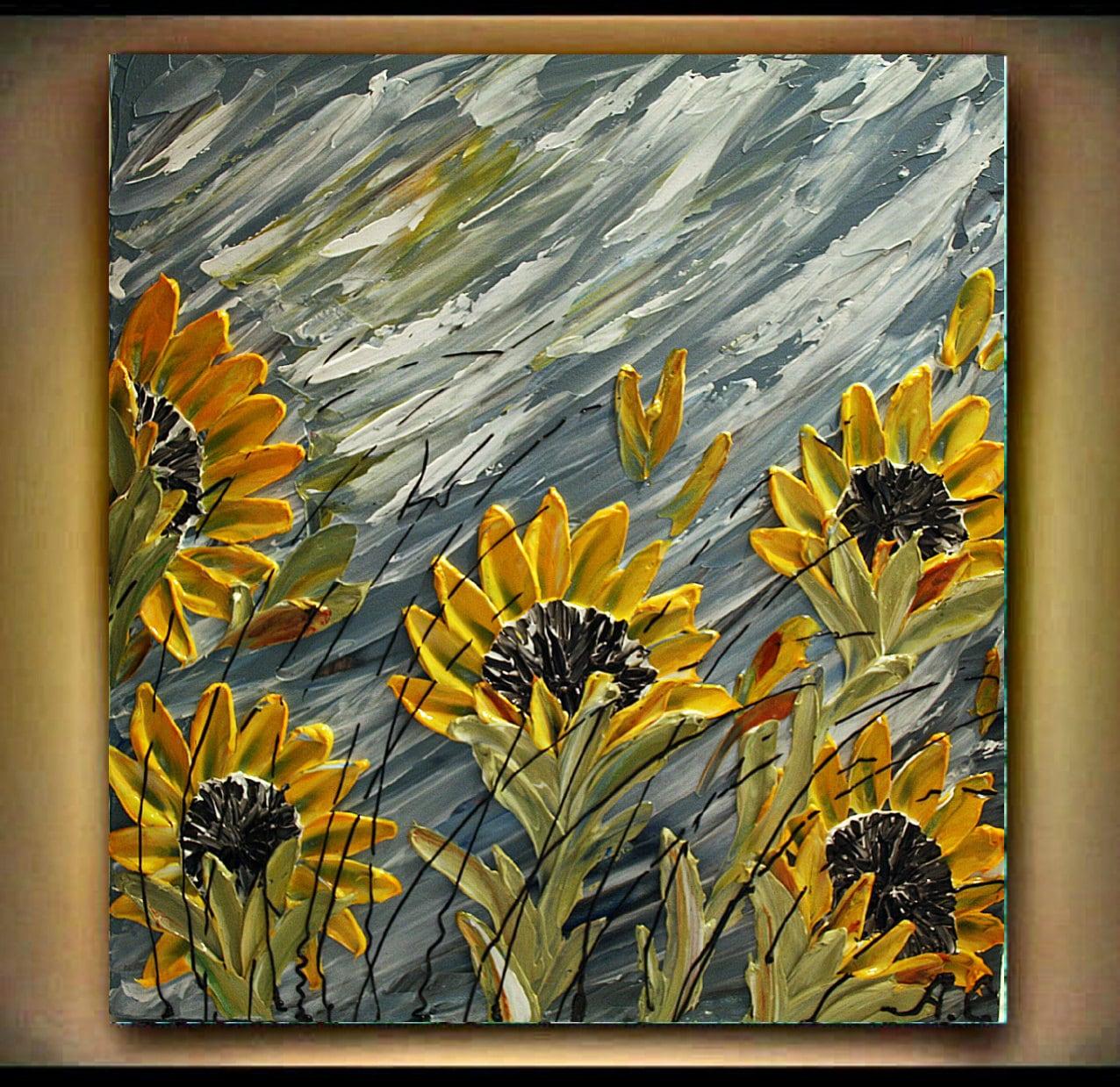 Original modern yellow sunflowers acrylic heavy impasto for Palette knife painting acrylic