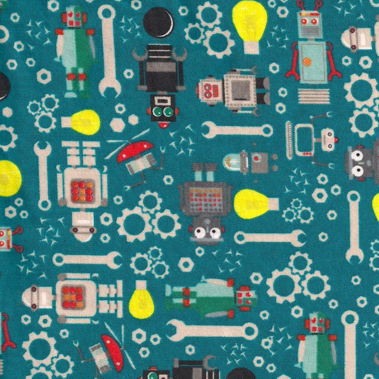 Robots gears and tools flannel fabric by the yard 100 cotton for Robot quilt fabric