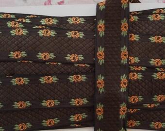 1y Vintage French Jacquard Orange Flowers Chocolate  Embroidered Ribbon Trim Doll Dress
