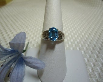 Oval cut Swiss Blue Topaz Ring in Sterling Silver   #550