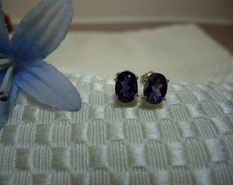 Oval Cut Iolite Earrings in Sterling Silver