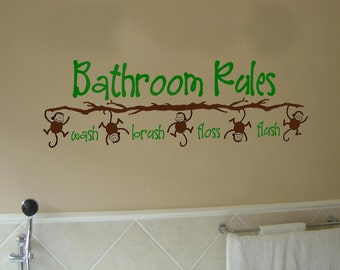 Bathroom Rules Monkey  Vinyl Wall Art Decal for Kid's Bathroom